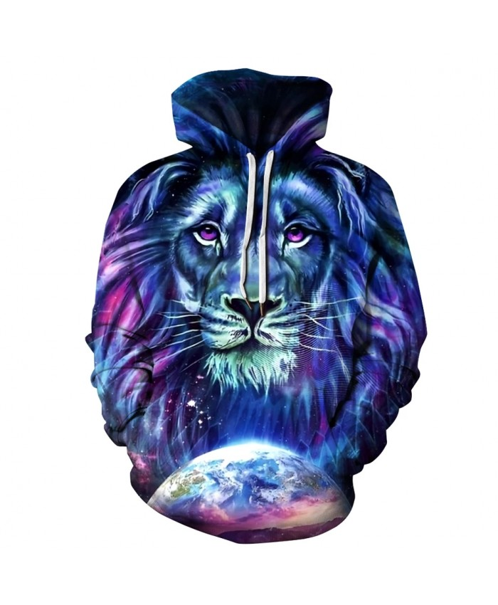 Men's New Animal Print Hoodie 3D Lion Head Hoodie for Autumn Winter 2021 Brand Hoodie Fashion Tracksuit Street Coat