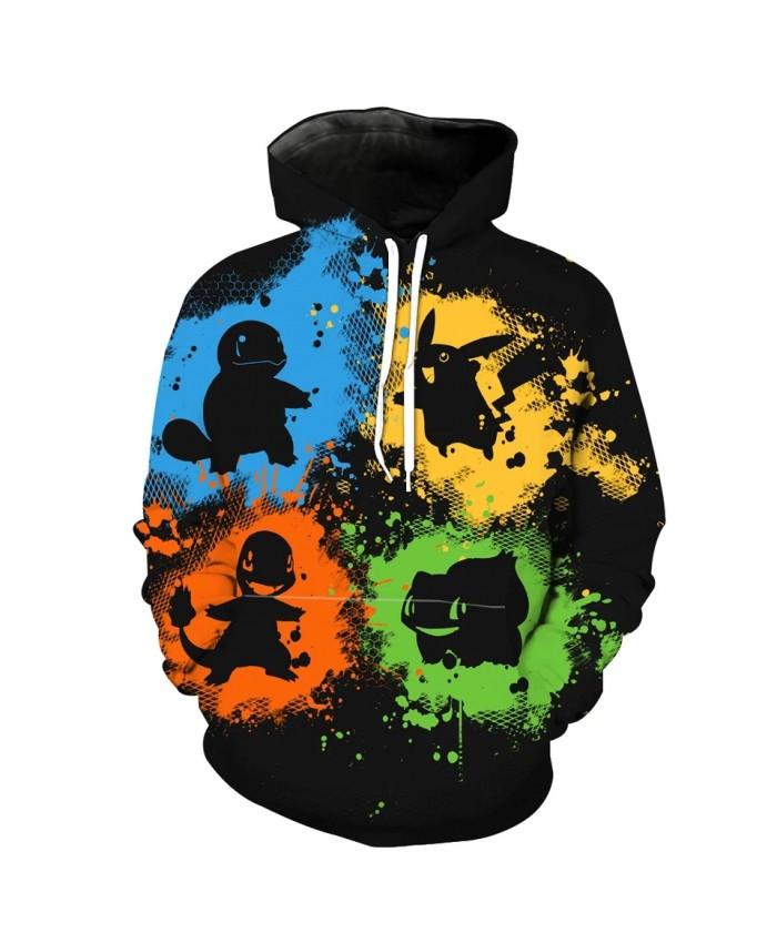 Men's Fashion 3D Hoodie Color graffiti stitching cute animal print sweatshirts