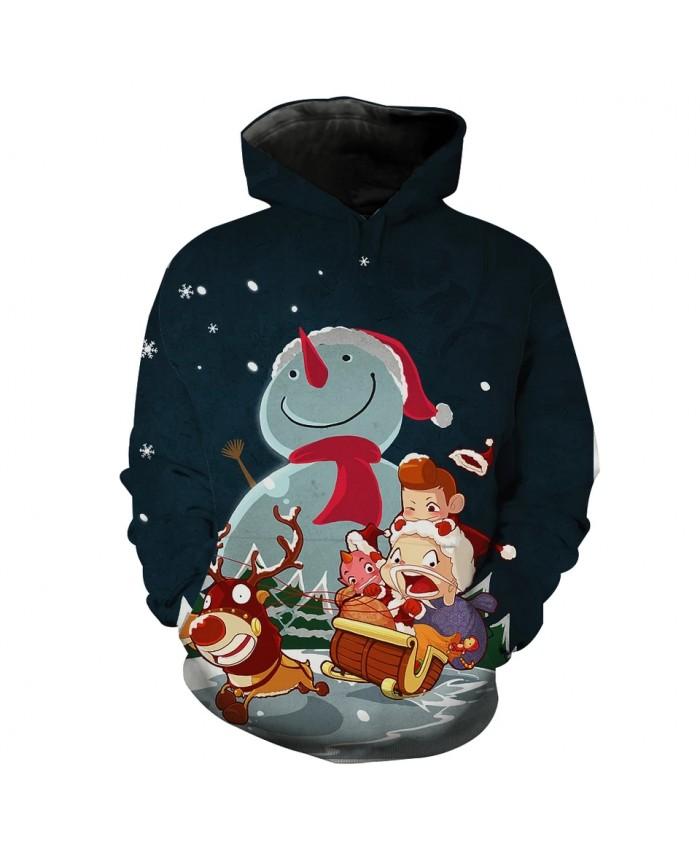 Cartoon Reindeer Carriage Doll Big Snowman Print Fashion Hoodie