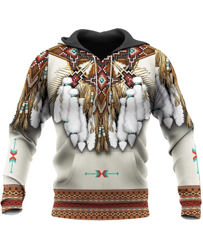 New style native feather 3D printed hoodie fashion street casual sweatshirt unisex casual sports hoodie