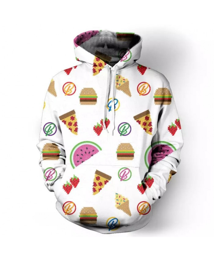 Pizza ice cream watermelon strawberry print white casual men's hooded sweatshirts