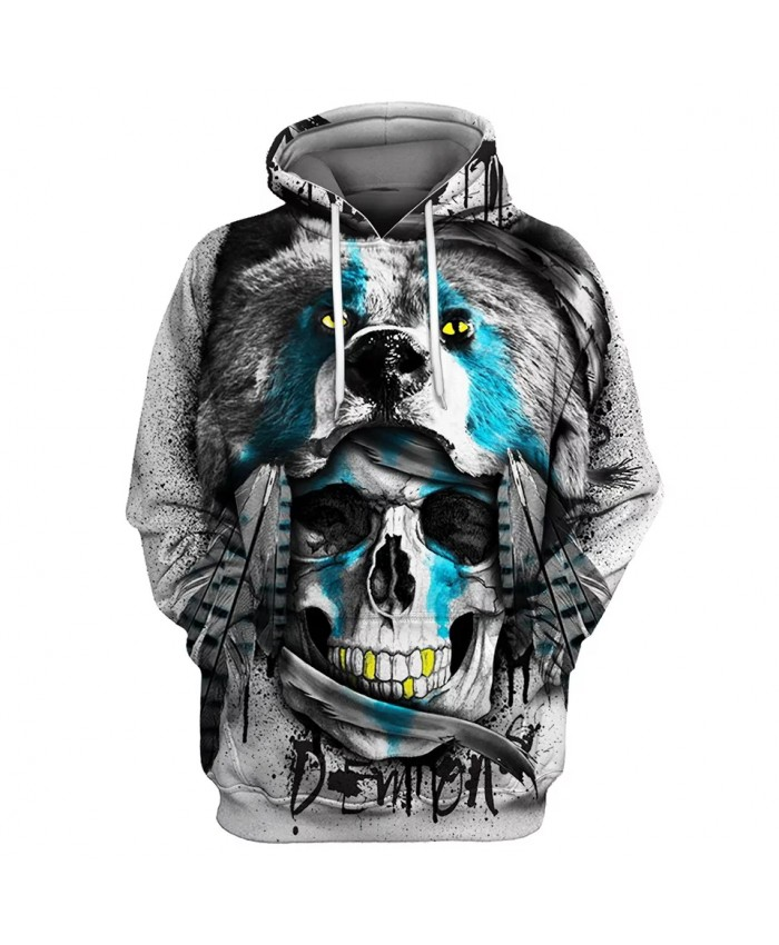 Black bear smile skull print fun casual 3D hooded sweatshirt