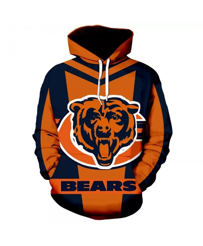 Chicago fashion cool Football 3d hoodies sportswear Blue orange stitching letter C roaring bear print Bears sweatshirt 1