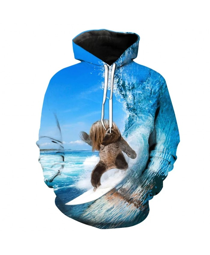 Blue Sky Wave Coffee Puppy Print Fashion 3D Hooded Sweatshirt