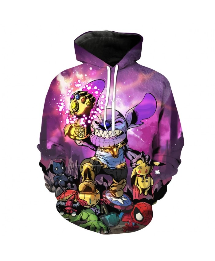 Men's Fashion 3D Hoodie Fun cartoon purple long ears elf print sweatshirts