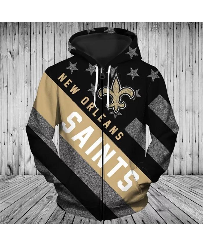 New Orleans Fashionable American Football Saints Zipper hoodies Black flag khaki non-dart print 3D sportswear 2