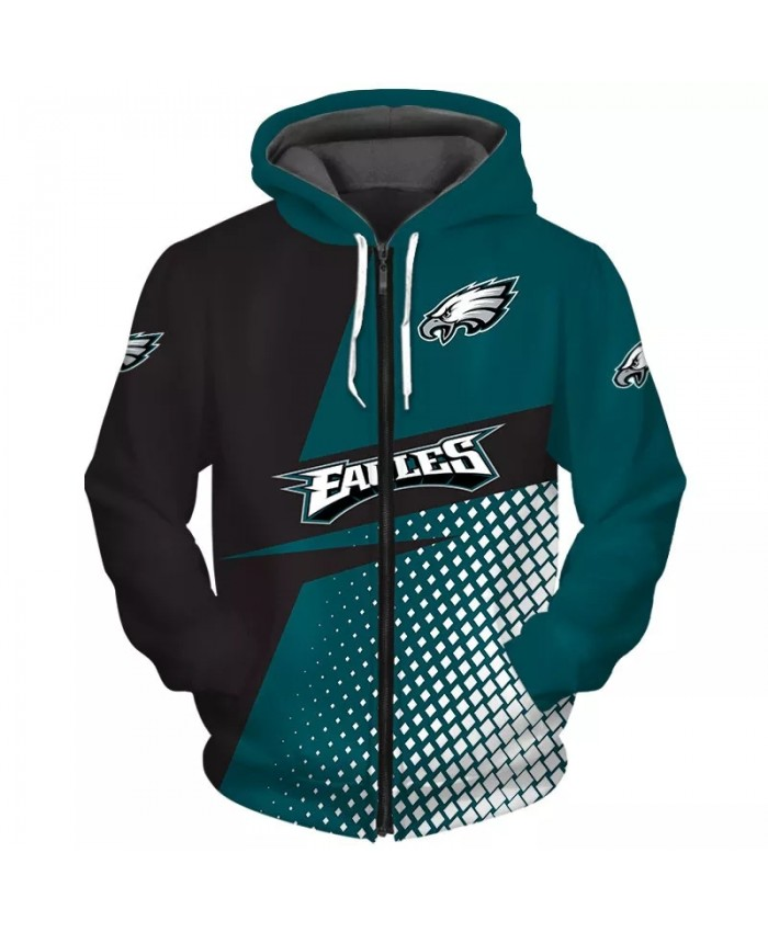 Philadelphia Fashionable American Football Eagles zipper hoodie Patchwork design mesh print casual sweatshirts 1