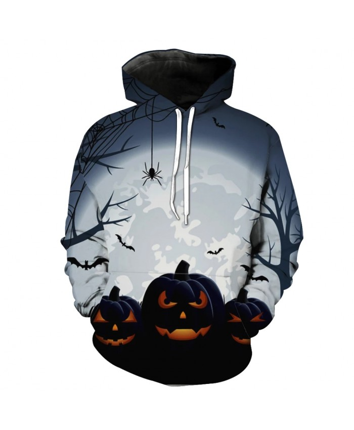Men's Fashion 3D Hoodie Spider web tree pumpkin bat print fashion sweatshirt