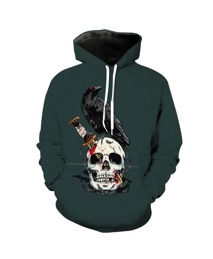 Men's Fashion 3D Hoodie Bronze dagger skull crow print green sweatshirt