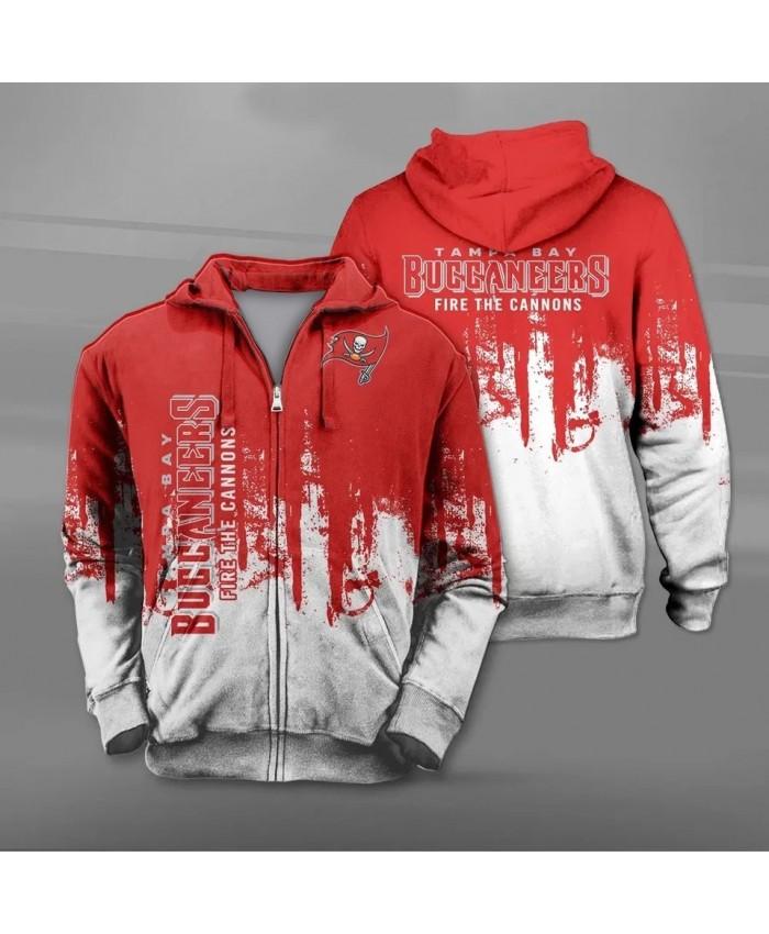 Tampa Bay Fashionable American Football Buccaneers Zipper hoodies Splash paint pirate flag print casual sportswear