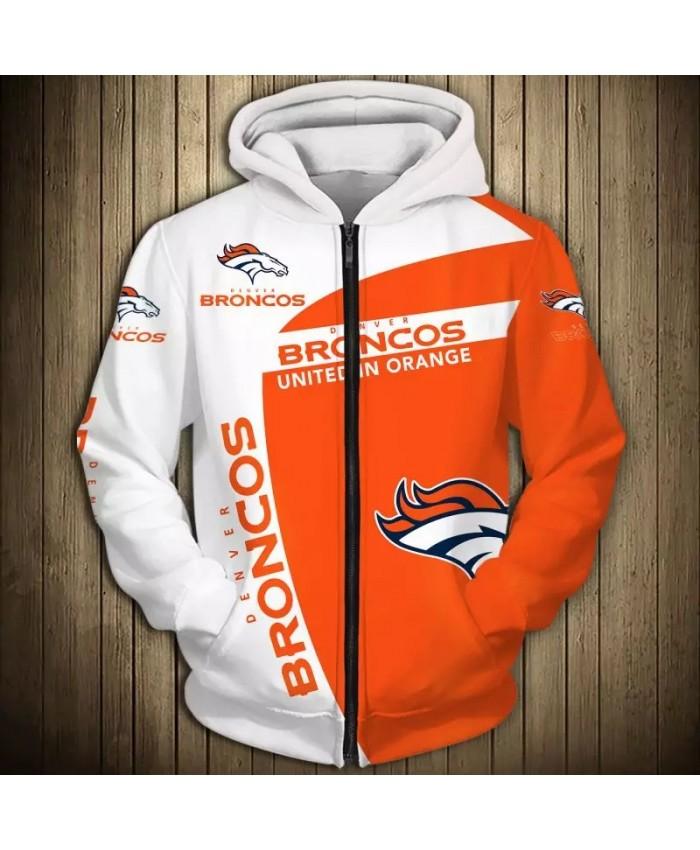 Denver Fashionable American Football Broncos Zipper hoodies White orange stitching geometric horse print 3D sweatshirts 1