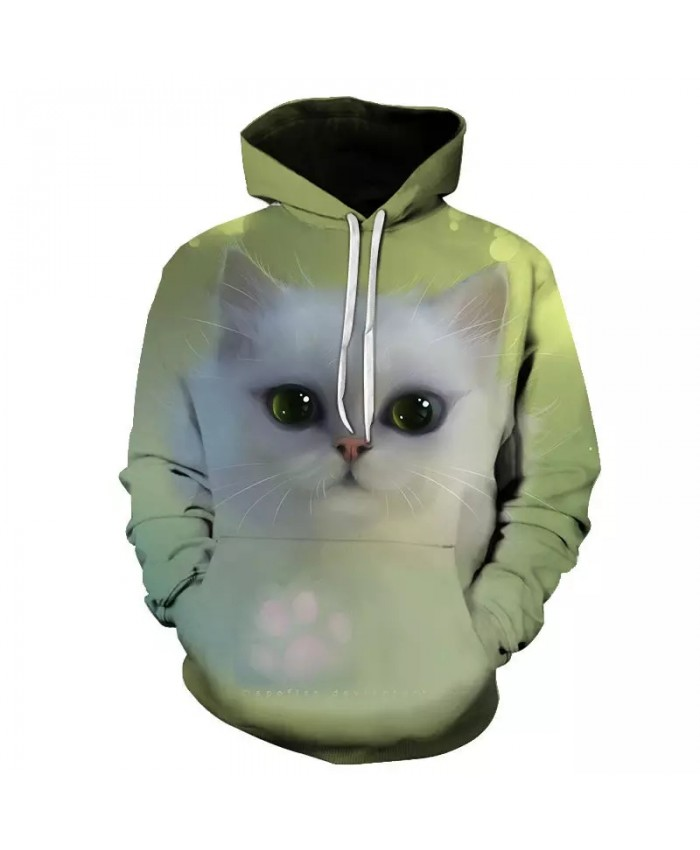 2021 Fall New Men's And Women's Hoodies Long Sleeve 3d Printing Cute Cat Sweatshirt Pullover Men's And Women's Fashion Tops