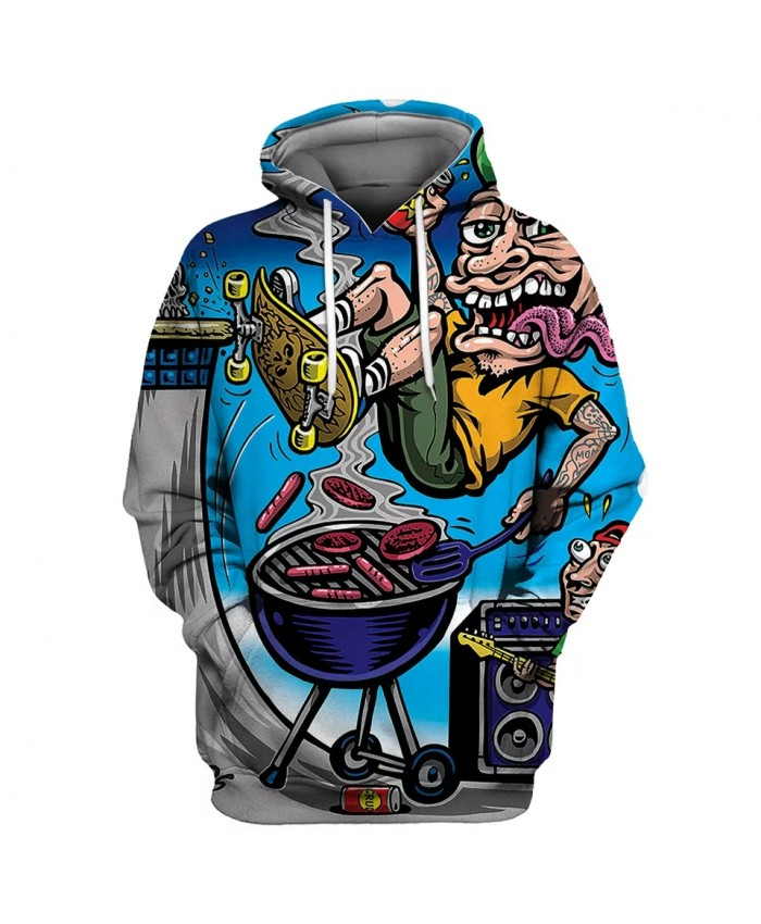 Crazy BBQ Cartoon Character Print Fun 3D Hooded Sportswear