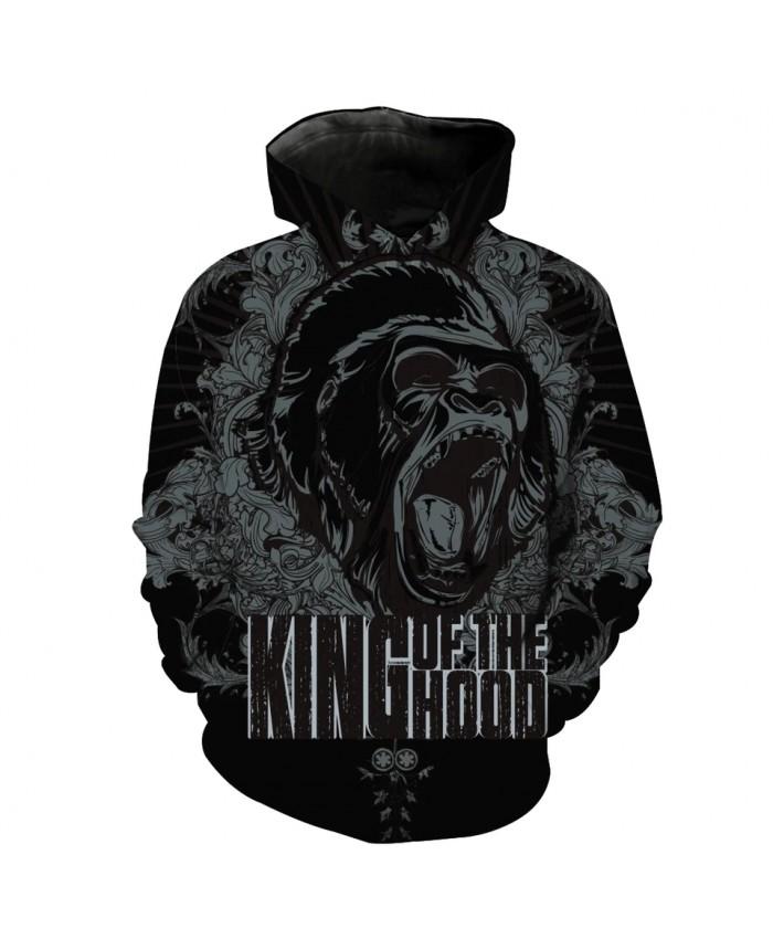 Men's Fashion 3D Hoodie Roaring Chimpanzee Print black sweatshirts