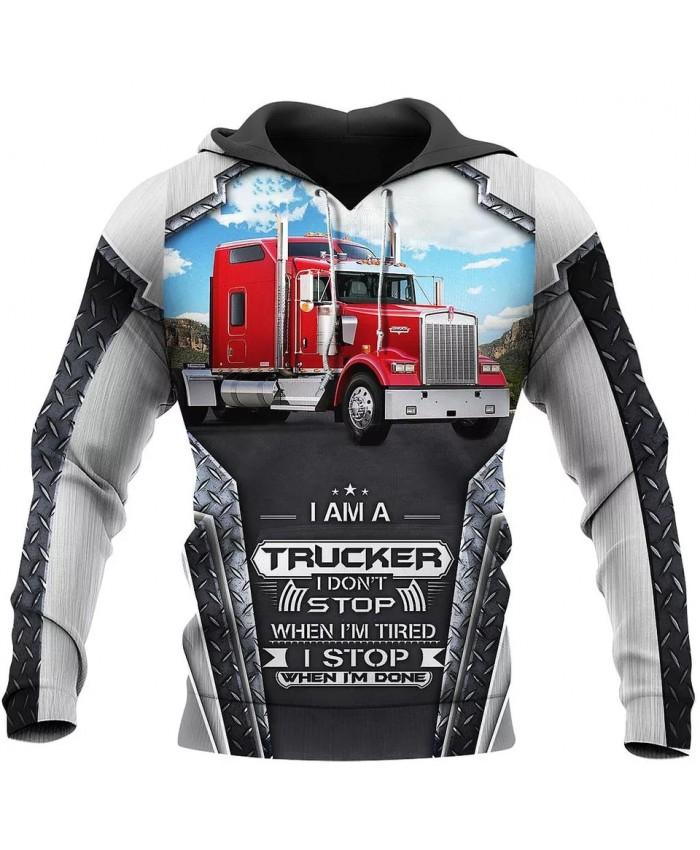 New style hoodie I am a trucker 3D printed sweatshirt hoodie zipper hoodie fun fashion street unisex casual sports hoodie NO0010