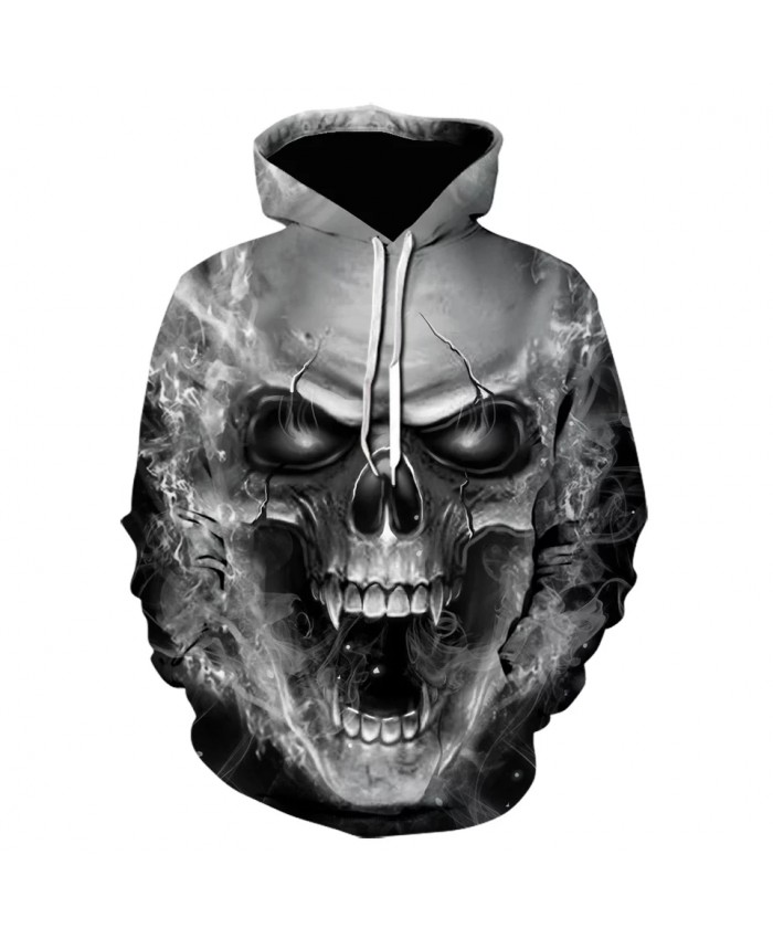 2021 Autumn New Men's And Women's Hoodie 3d Printing Mirror Black Skull Bone Sweatshirt Fashion Hip-hop Casual Pullover Coat
