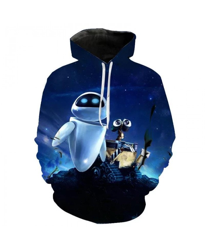 Spring And Autumn New Fashion Boys And Girls Hoodie 3d Printed Robot Wallico Sweatshirt Long Sleeve Streetwear Top