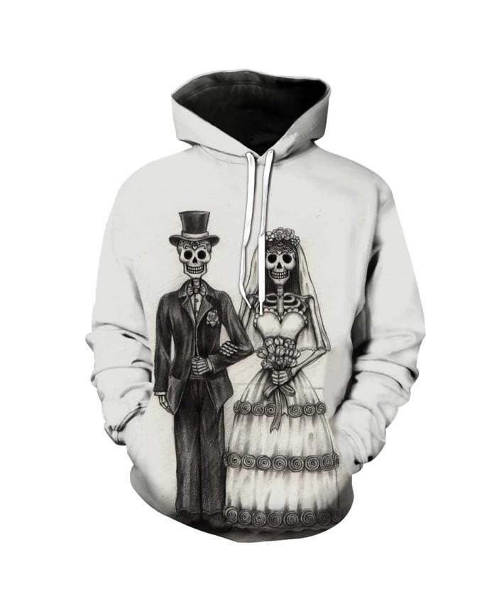 Men's Fashion 3D Hoodie Skull wedding couple print sweatshirt