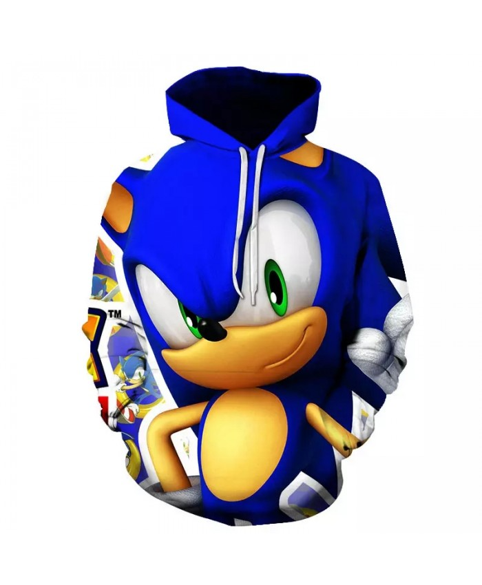 Autumn Men's Women's Harajuku Anime Cartoon Hoodie 3d Printing Sonic Hedgehog Children's Kawaii Clothes Sweatshirt Coat