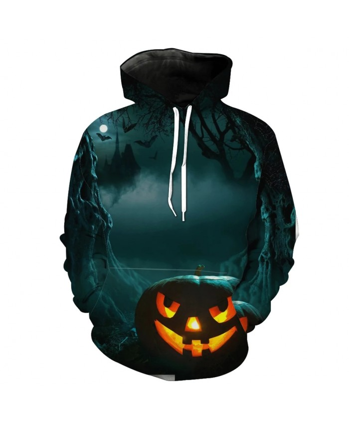 Men's Fashion 3D Hoodie Valley castle pumpkin lantern bat print hooded sweatshirts