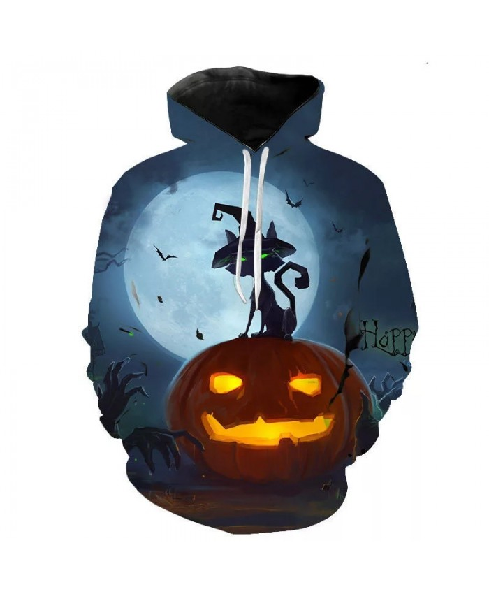 Autumn And Winter New Fashion Halloween Pumpkin 3d Printed Men's And Women's Hoodie Children's Sweatshirt Casual Coat