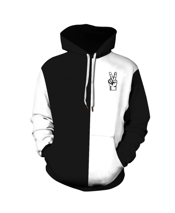 2021 Winter Autumn New Fashion Sweatshirt White and Black 3D Print Men Women Crewneck Pullover Hooodies Hoody Plus Size S-3XL