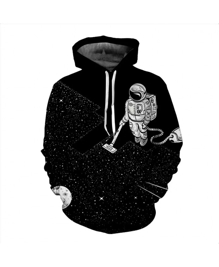 2021 Funny Design Hoody Astronaut Clean The Space 3D Sweatshirt Men Women Long Sleeve  Hooded Tracksuit Black Hoodies Pullover