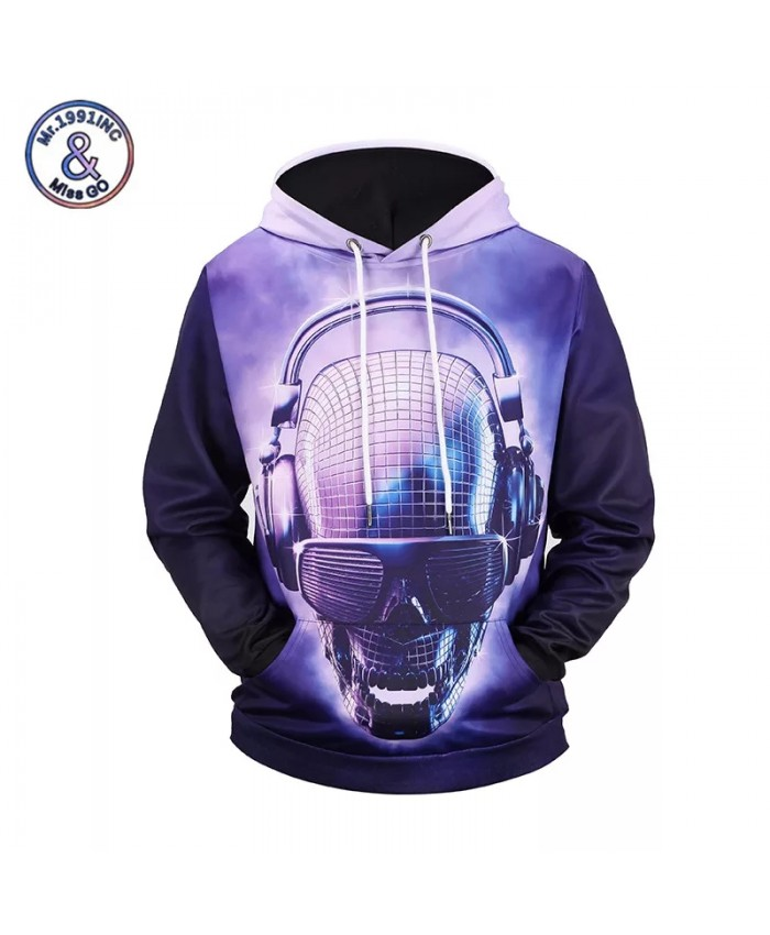 2021 Fashion Brand Hoodies Men Women 3D Print Cool DJ Skull Hip Hop Sweatshirt Hooded Unisex Tracksuit Tops M-3XL