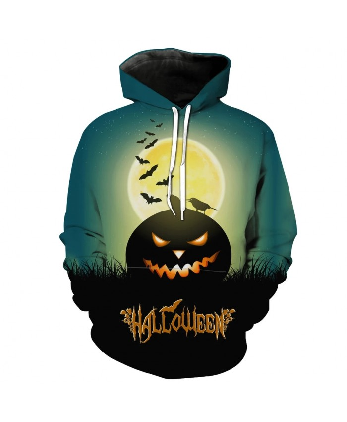 Green sky grassland smile pumpkin lantern bat print fun 3D hoodies