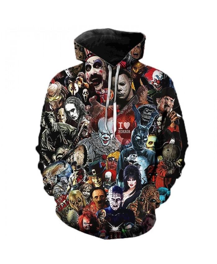 Freddy Jason Murderers Horror Movie 3D Printed Hoodie Sweatshirts IT Clown Funny Pullover Men Women Casual Oversized Hoodies