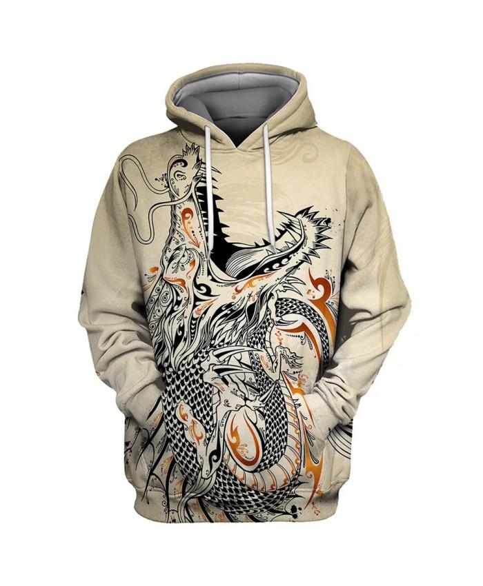 Graffiti Roaring Dragon Print Beige Men's Casual 3D Hooded Sweatshirts