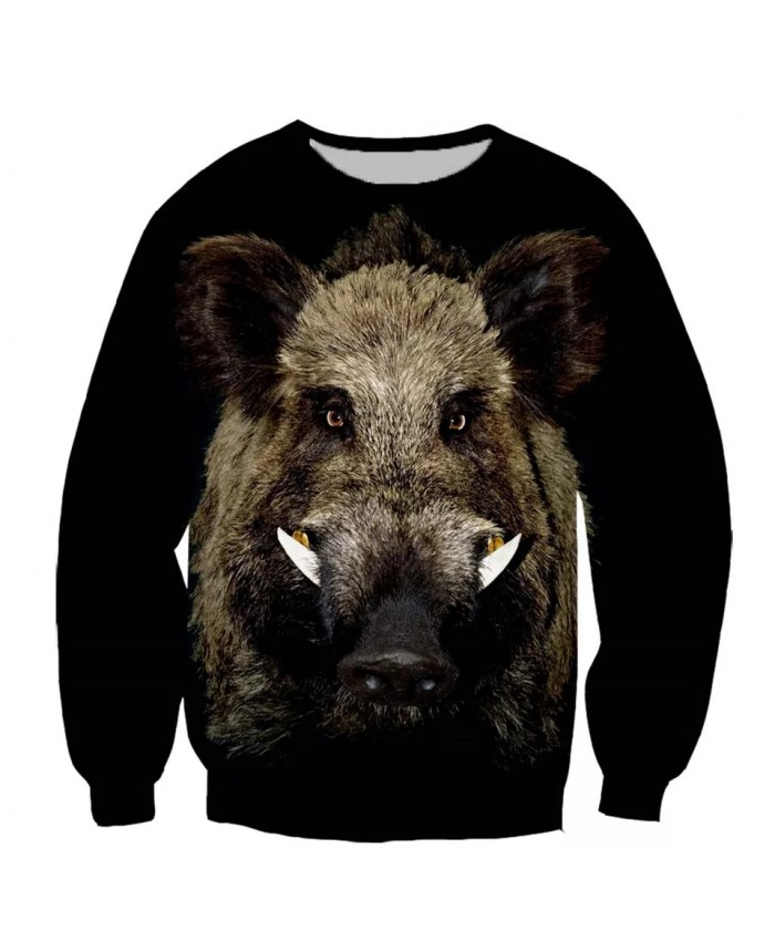 Wild boar Fashion Playerun Funny New Fashion Long Sleeves 3D Print Hoodies Sweatshirt Jacket Men women A