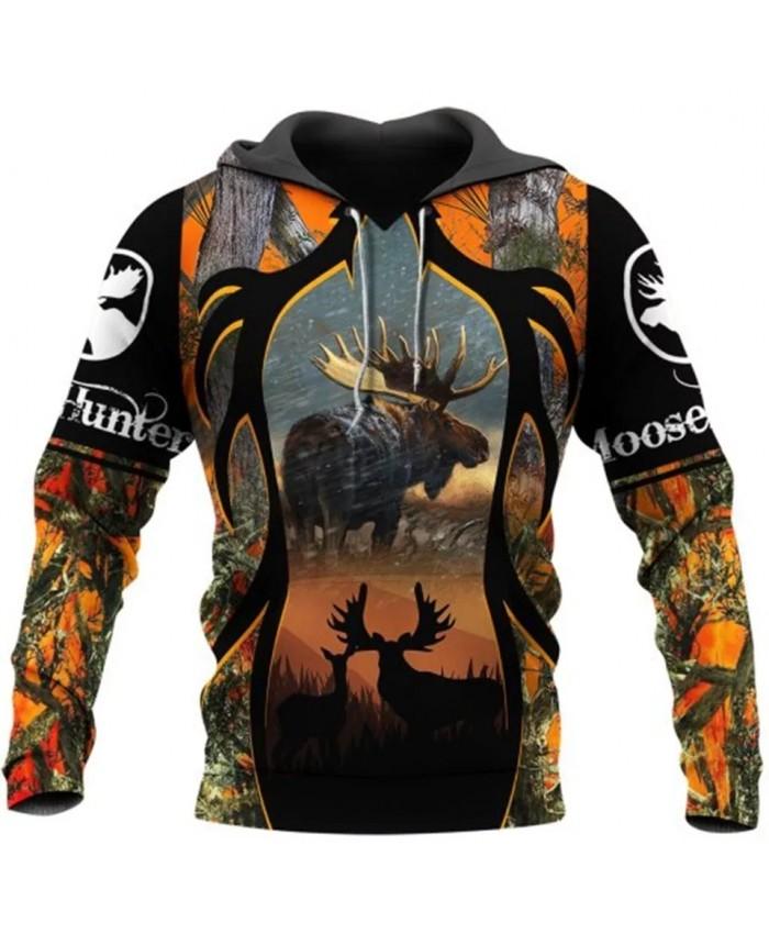 New 3D full print deer hunting camouflage fashion sweatshirt hoodie zipper hoodie fun unisex street casual sweatshirt