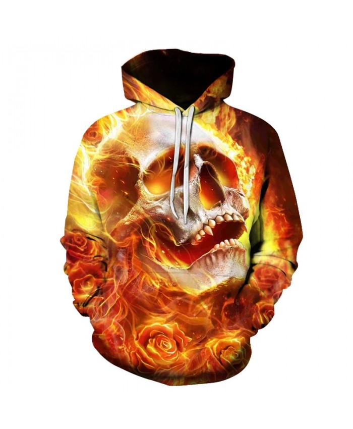 Creative Men's 3D Printing Hooded Sweatshirt Skull Head Hoodie Fall Winter Fashion Hoodie Pullover