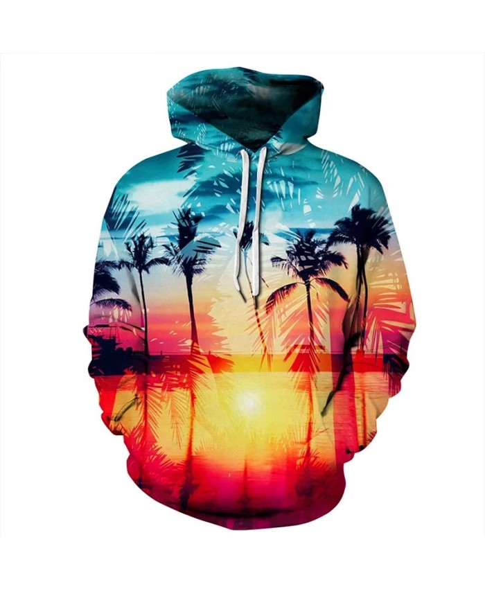 3D print hoodies pullover hooded sweatshirts for men women lovers 2021 autumn fashion hip hop street wear Hawaiian landscape