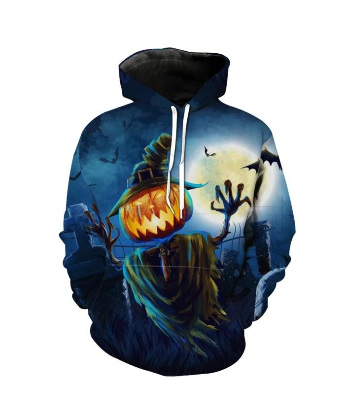 Men's Fashion 3D Hoodie Blue sky pumpkin head scarecrow bat print sweatshirt