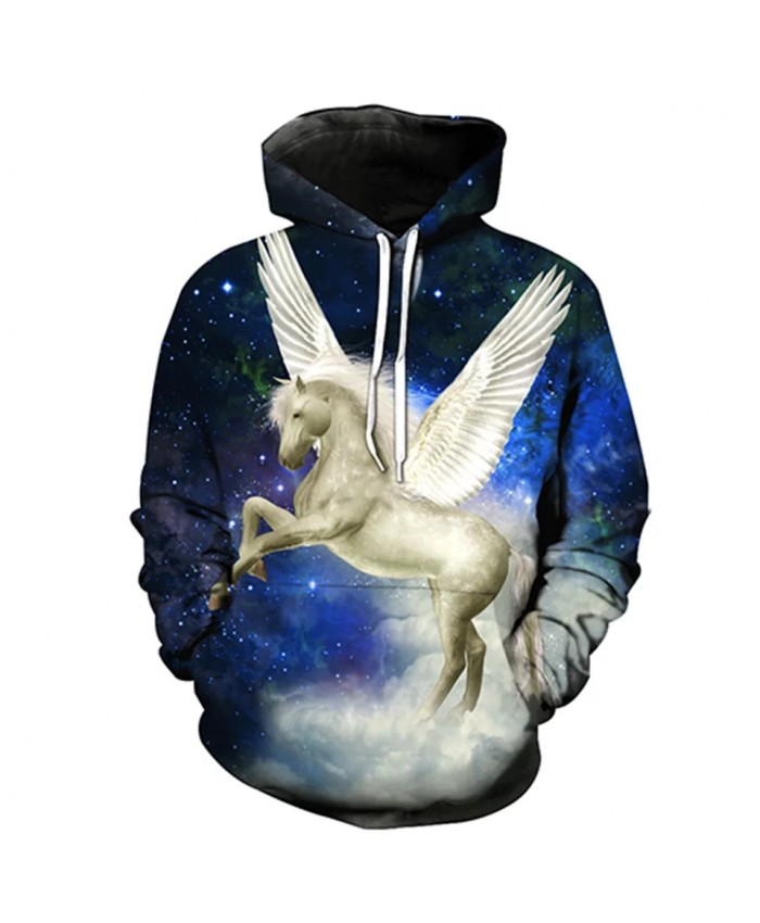 Blue Galaxy Angel Wings White Horse Print Fun 3D Sportswears
