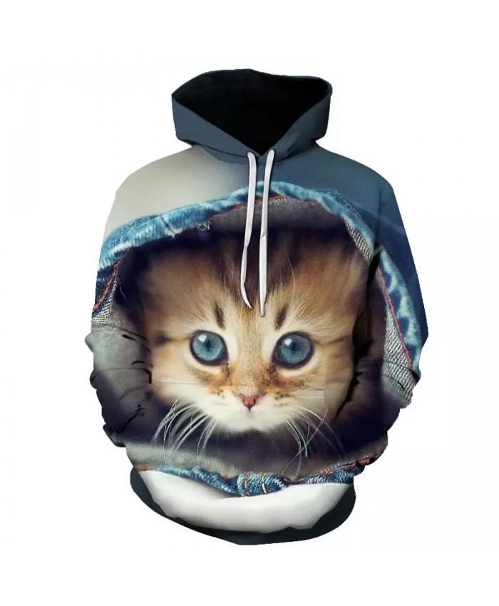 Women's Two Cat Sweatshirts Long Sleeve 3D Hoodies Sweatshirt Pullover Tops Blouse Pullover Hoodie Poleron Mujer Confidante Tops