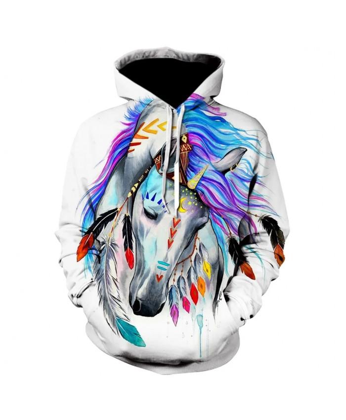 Autumn And Winter New 3d Animal Hoodie Animal Rainbow Horse Print Sweatshirt Men's Fashion Casual Street Pullover Coat