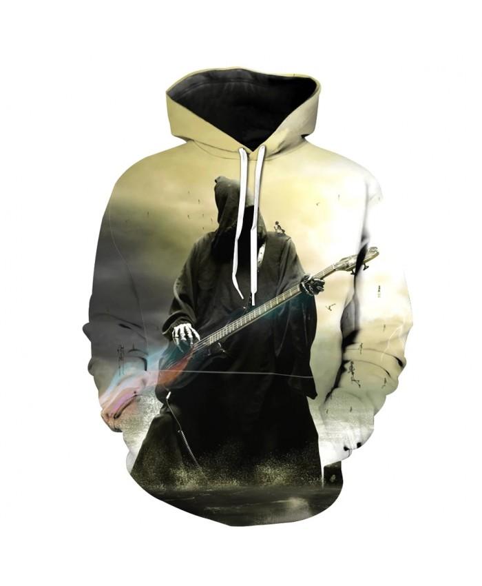 Green Fashion 3D Hooded Sweatshirt Grim Reaper Print Streetwear