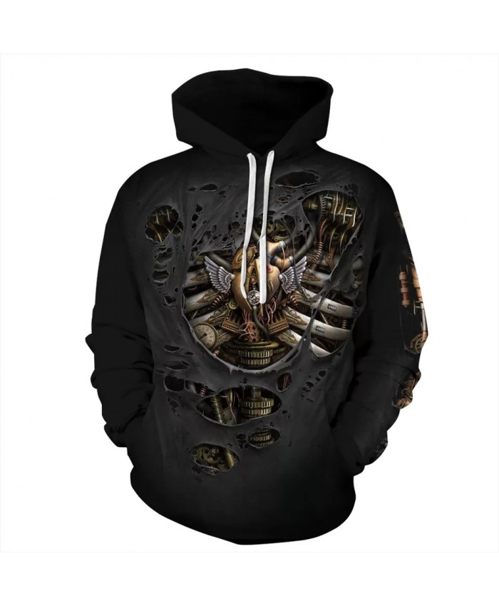 3D Hoodie Hoodies Streetwear Hip Hop Sweatshirts Hoodie Harajuku Print Mechanical Body Pullover Hooded