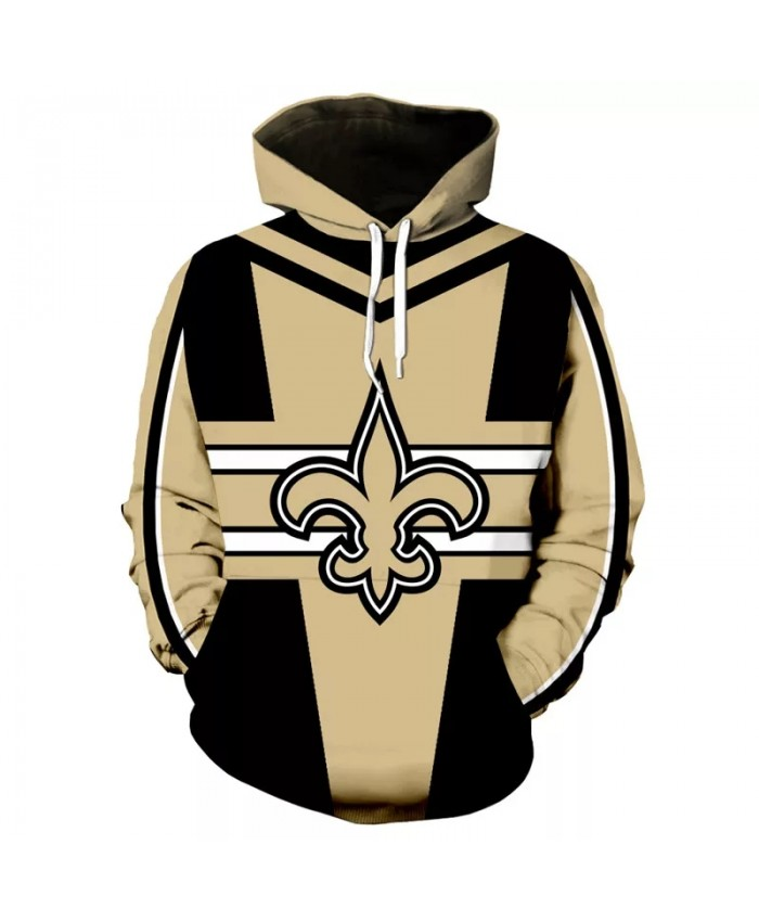 New Orleans fashion cool Football 3d hoodies sportswear Khaki black stitching geometric darts print Saints sweatshirt