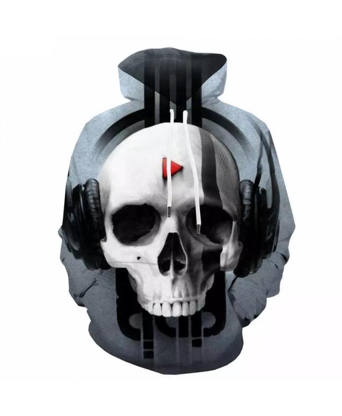Skull Hoodie Men Music Hoody Anime Skeleton Sweatshirt Printed Hip Hop Hooded Casual Long Sleeve Streetwear Casual