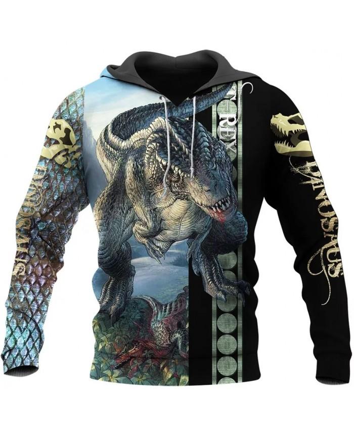 New Fashion Hoodie Dinosaur Art 3D Print Hoodie Zipper Hoodie Fun Unisex Casual Sweatshirt