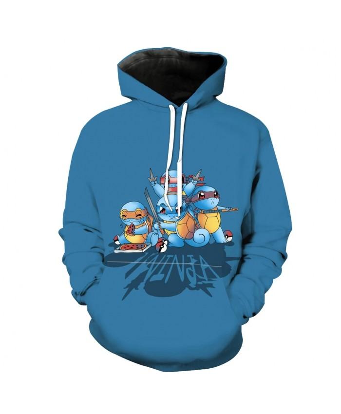 Men's Fashion 3D Hoodie Blue cute cartoon little turtle print sweatshirts