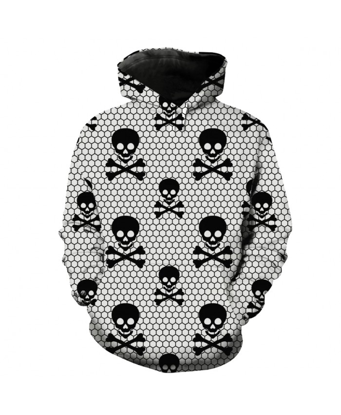 Men's Fashion 3D Hoodie Grid dense skull print sweatshirts