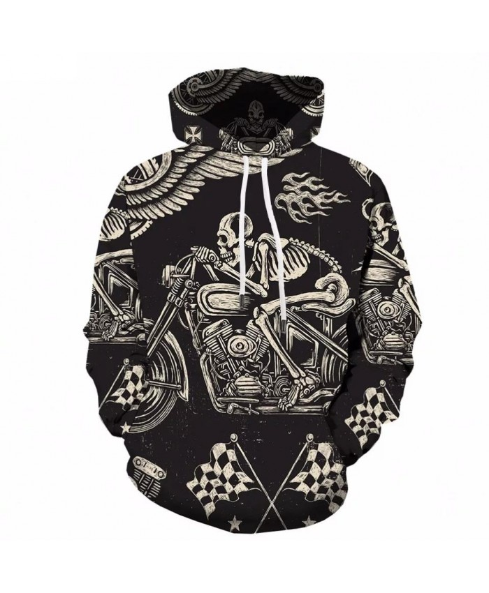 Skull Hoodie Men Hip Hop Sweatshirt Hooded Motorcycle Skeleton 3d Hoodies Printed Anime Black Mens Clothing Streetwear New