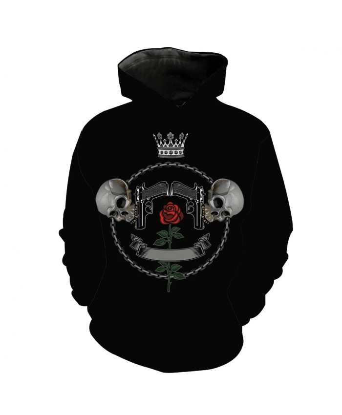 Men's Fashion 3D Hoodie Rose gun skull crown print sweatshirt