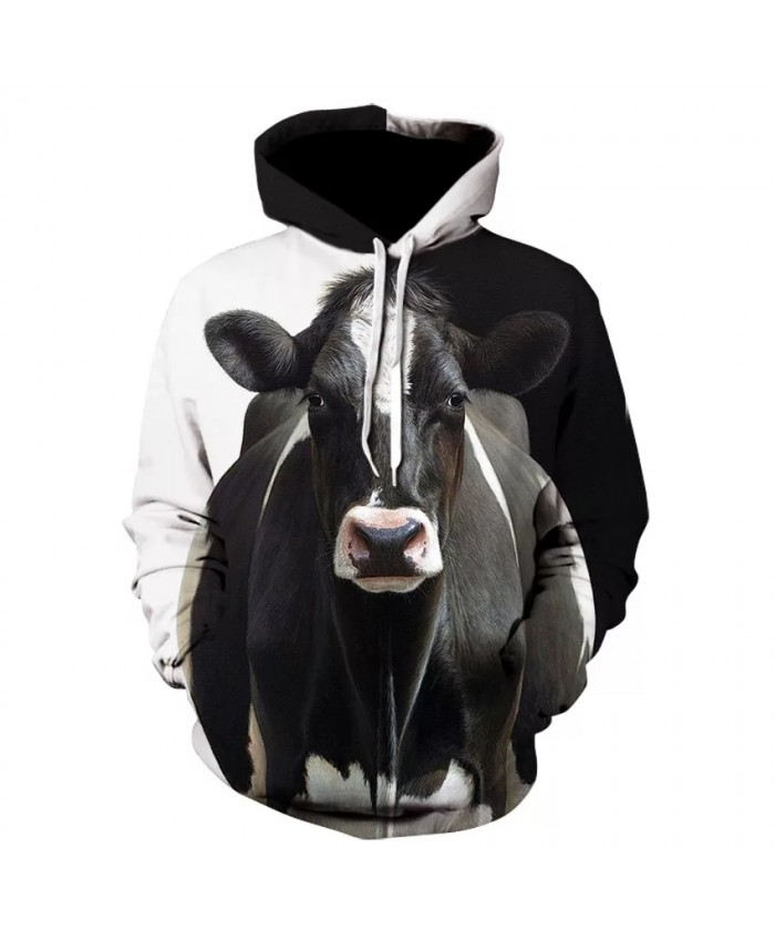 Brand new print men's personality animal cow hoodie fashion men and women long sleeve street wear 3D cow hoodie coat