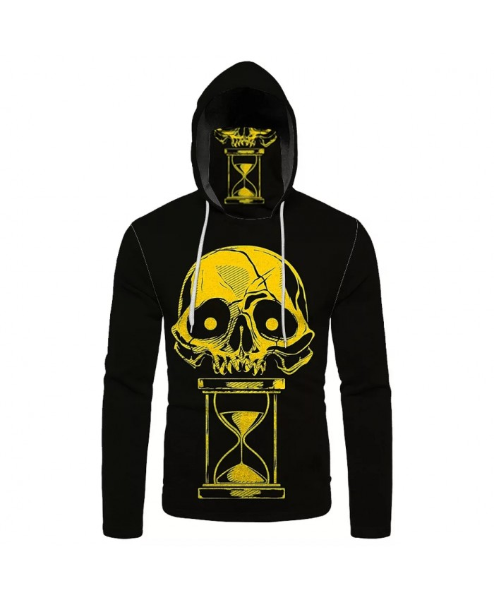 Golden hourglass yellow skull print cool 3D black masked hooded sweatshirt